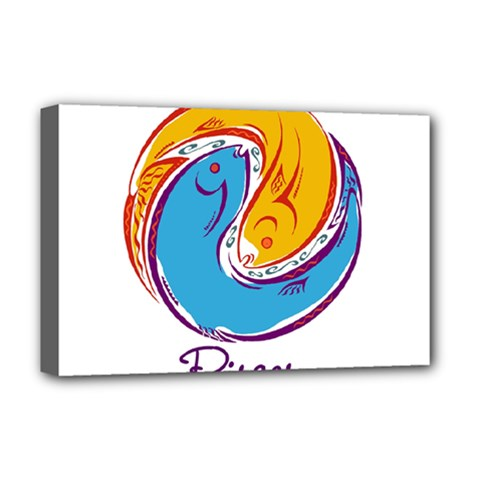 Pisces Star Sign Deluxe Canvas 18  x 12