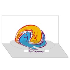 Pisces Star Sign Twin Heart Bottom 3D Greeting Card (8x4)