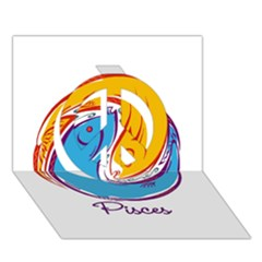 Pisces Star Sign Peace Sign 3D Greeting Card (7x5)