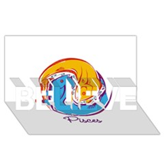 Pisces Star Sign BELIEVE 3D Greeting Card (8x4)