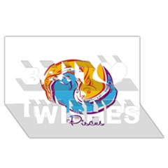 Pisces Star Sign Best Wish 3D Greeting Card (8x4)