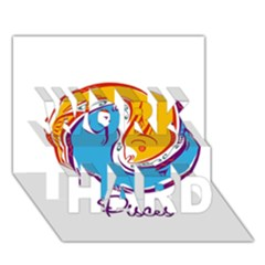 Pisces Star Sign Work Hard 3d Greeting Card (7x5)