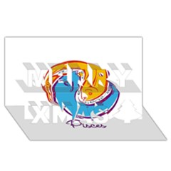 Pisces Star Sign Merry Xmas 3d Greeting Card (8x4)