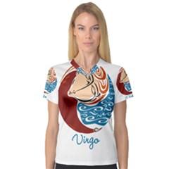 Virgo Star Sign Women s V-Neck Sport Mesh Tee