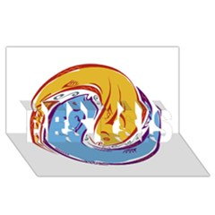 Two Fish Best Sis 3d Greeting Card (8x4)