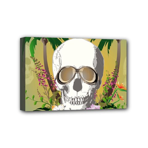 Funny Skull With Sunglasses And Palm Mini Canvas 6  x 4