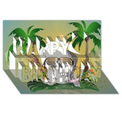 Funny Skull With Sunglasses And Palm Happy Birthday 3D Greeting Card (8x4)