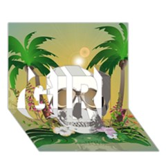 Funny Skull With Sunglasses And Palm Girl 3d Greeting Card (7x5)