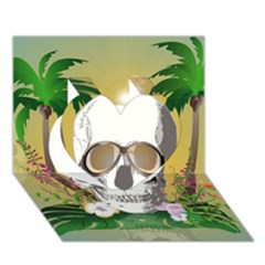 Funny Skull With Sunglasses And Palm Heart 3D Greeting Card (7x5)