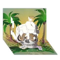 Funny Skull With Sunglasses And Palm LOVE 3D Greeting Card (7x5)