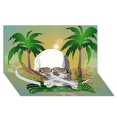 Funny Skull With Sunglasses And Palm Twin Heart Bottom 3D Greeting Card (8x4)