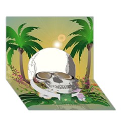 Funny Skull With Sunglasses And Palm Circle Bottom 3d Greeting Card (7x5)