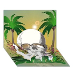 Funny Skull With Sunglasses And Palm LOVE Bottom 3D Greeting Card (7x5)
