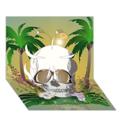 Funny Skull With Sunglasses And Palm Clover 3D Greeting Card (7x5)
