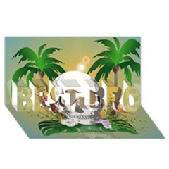 Funny Skull With Sunglasses And Palm BEST BRO 3D Greeting Card (8x4)