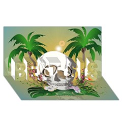 Funny Skull With Sunglasses And Palm BEST SIS 3D Greeting Card (8x4)