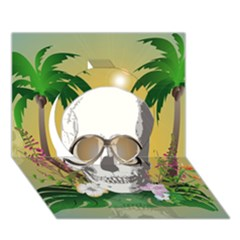 Funny Skull With Sunglasses And Palm Circle 3d Greeting Card (7x5)