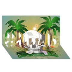 Funny Skull With Sunglasses And Palm #1 Dad 3d Greeting Card (8x4)