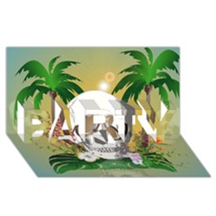 Funny Skull With Sunglasses And Palm PARTY 3D Greeting Card (8x4)