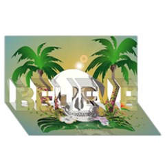 Funny Skull With Sunglasses And Palm BELIEVE 3D Greeting Card (8x4)