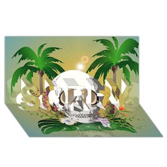 Funny Skull With Sunglasses And Palm SORRY 3D Greeting Card (8x4)