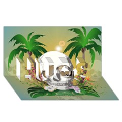 Funny Skull With Sunglasses And Palm HUGS 3D Greeting Card (8x4)