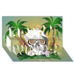 Funny Skull With Sunglasses And Palm Best Wish 3d Greeting Card (8x4)