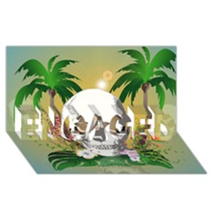 Funny Skull With Sunglasses And Palm ENGAGED 3D Greeting Card (8x4)