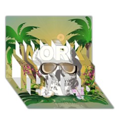 Funny Skull With Sunglasses And Palm Work Hard 3d Greeting Card (7x5)