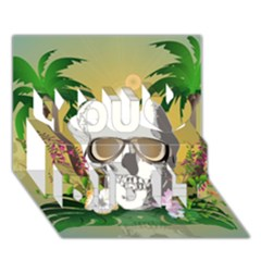 Funny Skull With Sunglasses And Palm You Did It 3D Greeting Card (7x5)
