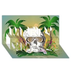 Funny Skull With Sunglasses And Palm Merry Xmas 3D Greeting Card (8x4)