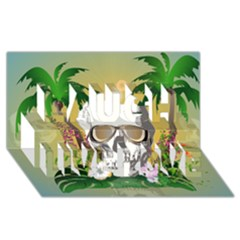 Funny Skull With Sunglasses And Palm Laugh Live Love 3d Greeting Card (8x4)