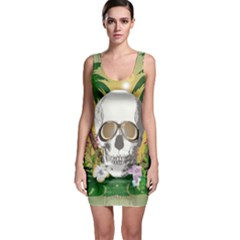 Funny Skull With Sunglasses And Palm Bodycon Dresses