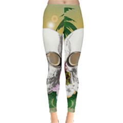 Funny Skull With Sunglasses And Palm Women s Leggings