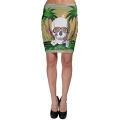 Funny Skull With Sunglasses And Palm Bodycon Skirts