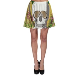 Funny Skull With Sunglasses And Palm Skater Skirts