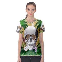Funny Skull With Sunglasses And Palm Women s Sport Mesh Tees