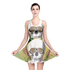 Funny Skull With Sunglasses And Palm Reversible Skater Dresses