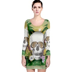 Funny Skull With Sunglasses And Palm Long Sleeve Bodycon Dresses