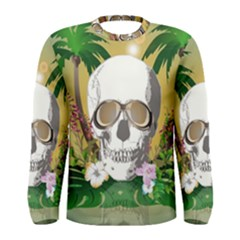 Funny Skull With Sunglasses And Palm Men s Long Sleeve T Shirts