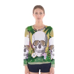 Funny Skull With Sunglasses And Palm Women s Long Sleeve T Shirts