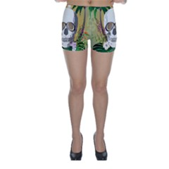 Funny Skull With Sunglasses And Palm Skinny Shorts