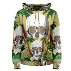 Funny Skull With Sunglasses And Palm Women s Pullover Hoodies