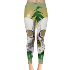 Funny Skull With Sunglasses And Palm Winter Leggings