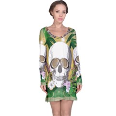 Funny Skull With Sunglasses And Palm Long Sleeve Nightdresses