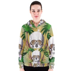 Funny Skull With Sunglasses And Palm Women s Zipper Hoodies