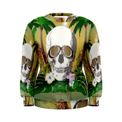 Funny Skull With Sunglasses And Palm Women s Sweatshirts