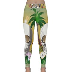 Funny Skull With Sunglasses And Palm Yoga Leggings