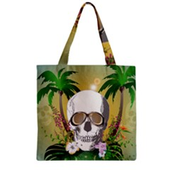 Funny Skull With Sunglasses And Palm Zipper Grocery Tote Bags