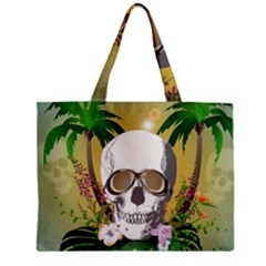 Funny Skull With Sunglasses And Palm Zipper Tiny Tote Bags